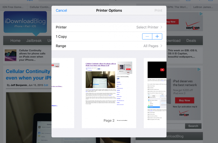 New in iOS 9: Native print preview