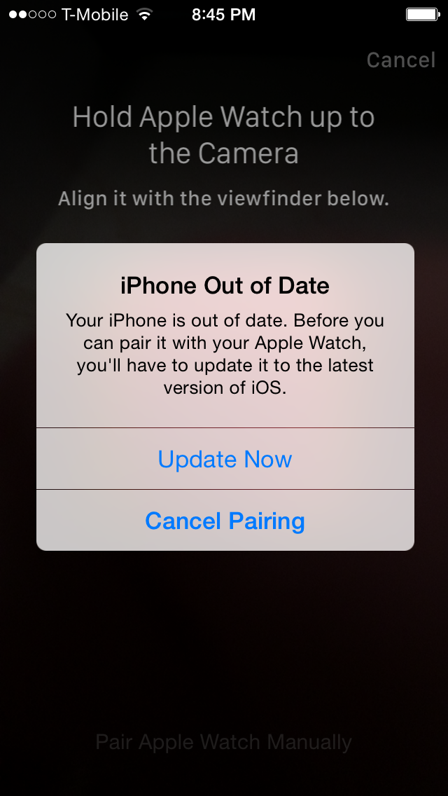 iPhoen Out of Date watchOS 2