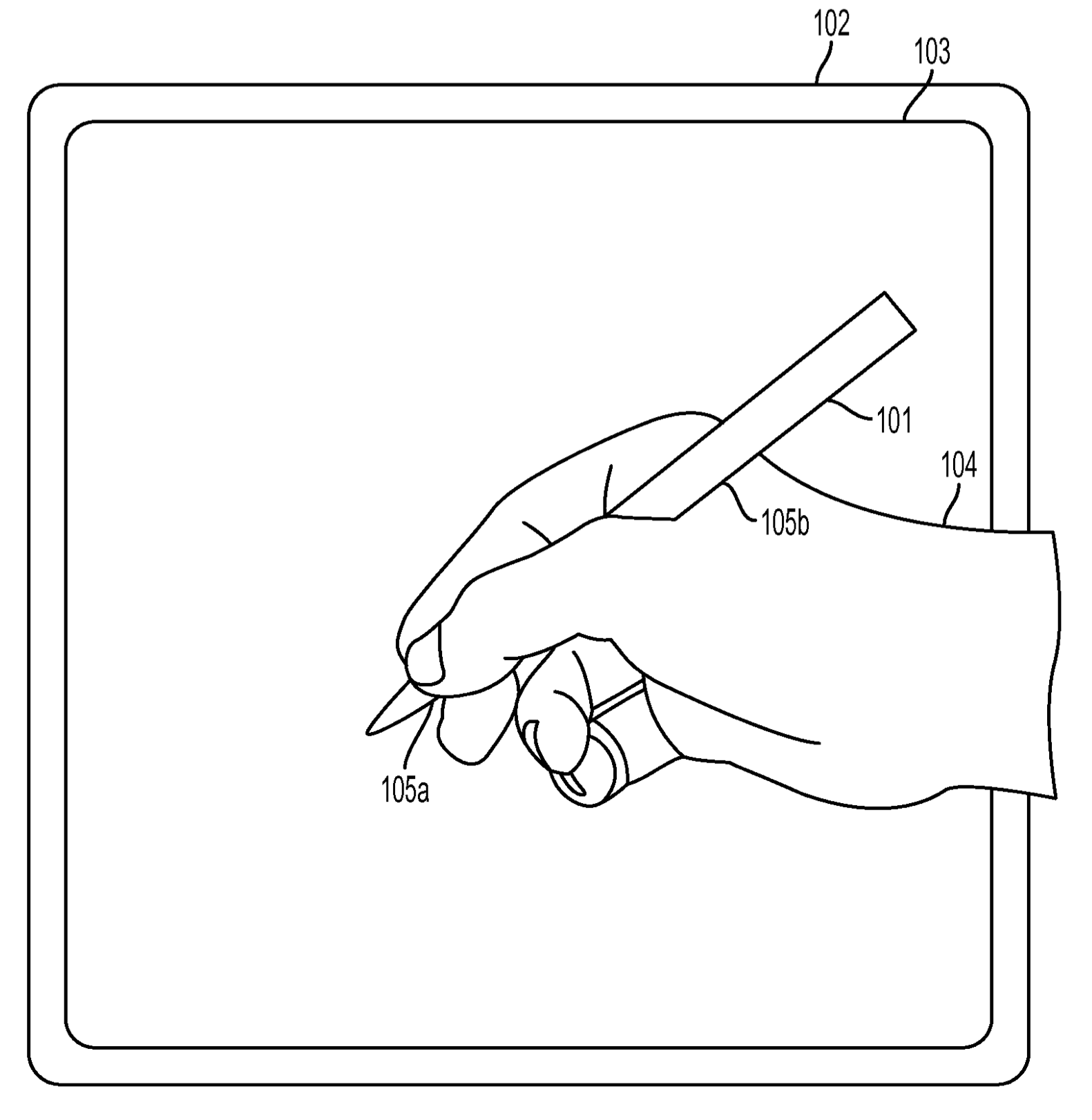 Apple texture sensing stylus patent drawing 001