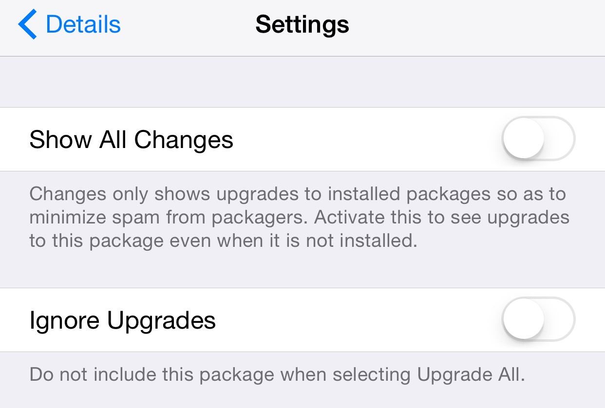 Change Package Settings Ignore Upgrades Cydia
