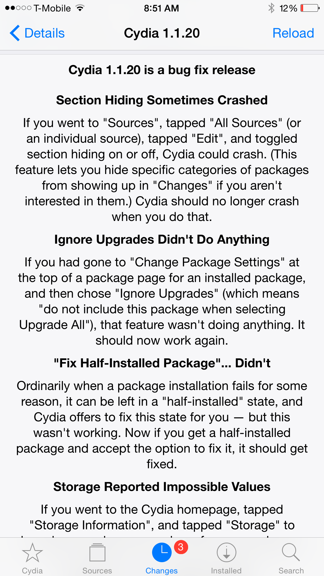 Cydia 1.1.20 Update Change log