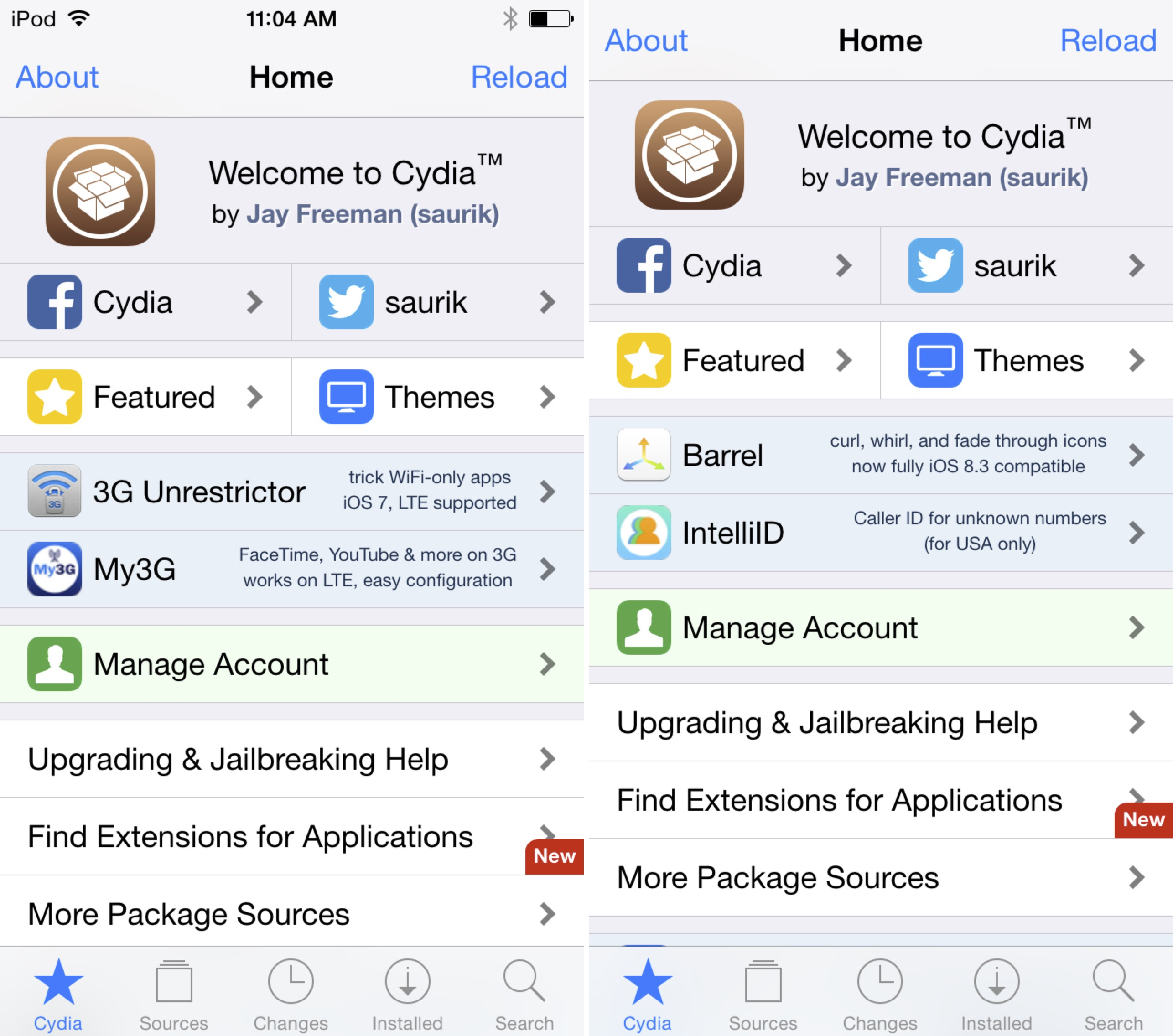 Cydia full screen
