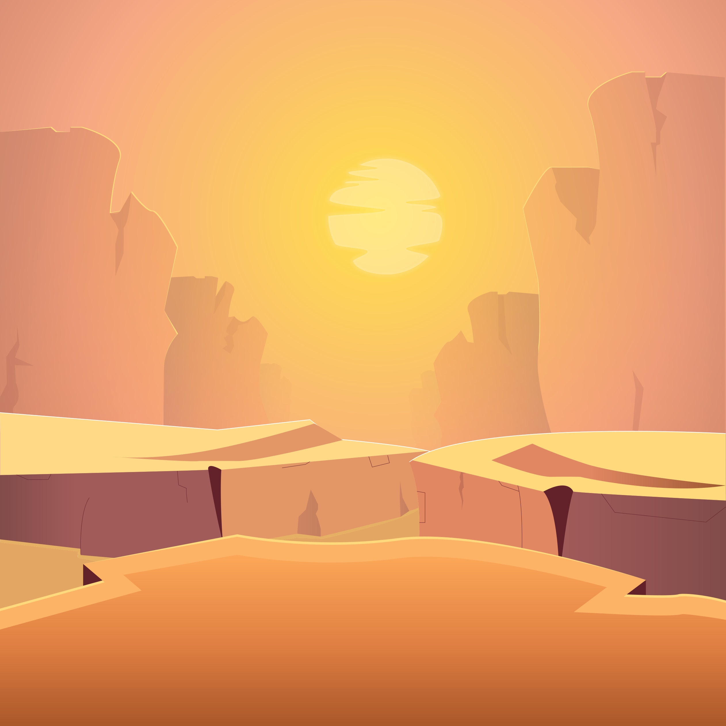 Desert Canyon Cartoon iPad Wallpaper