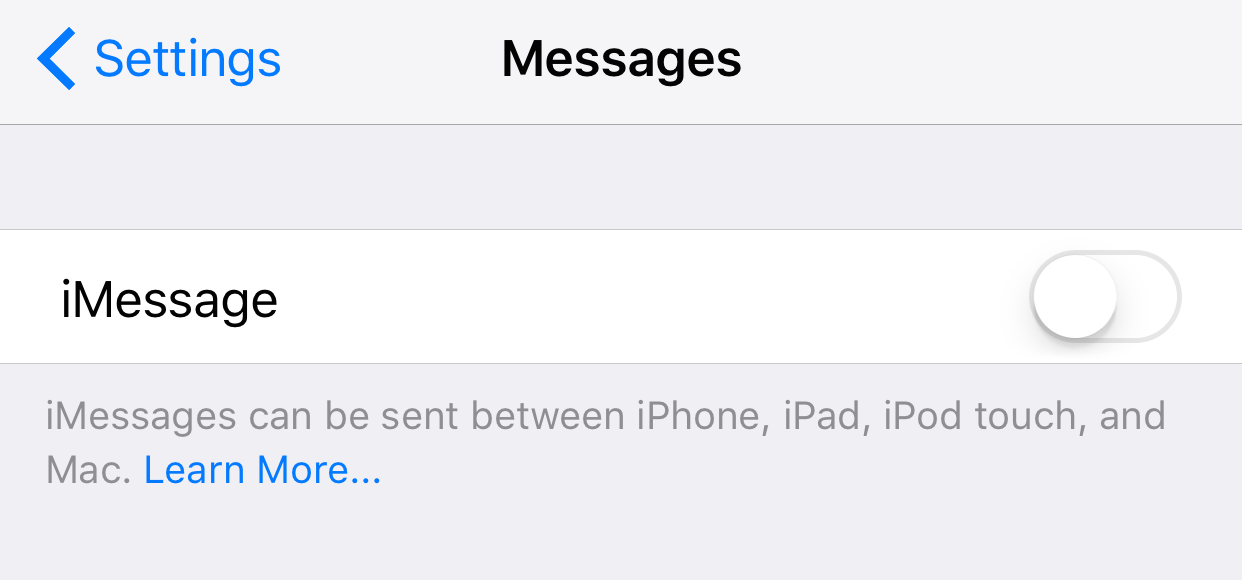 Disable iMessage Apple Watch Setup