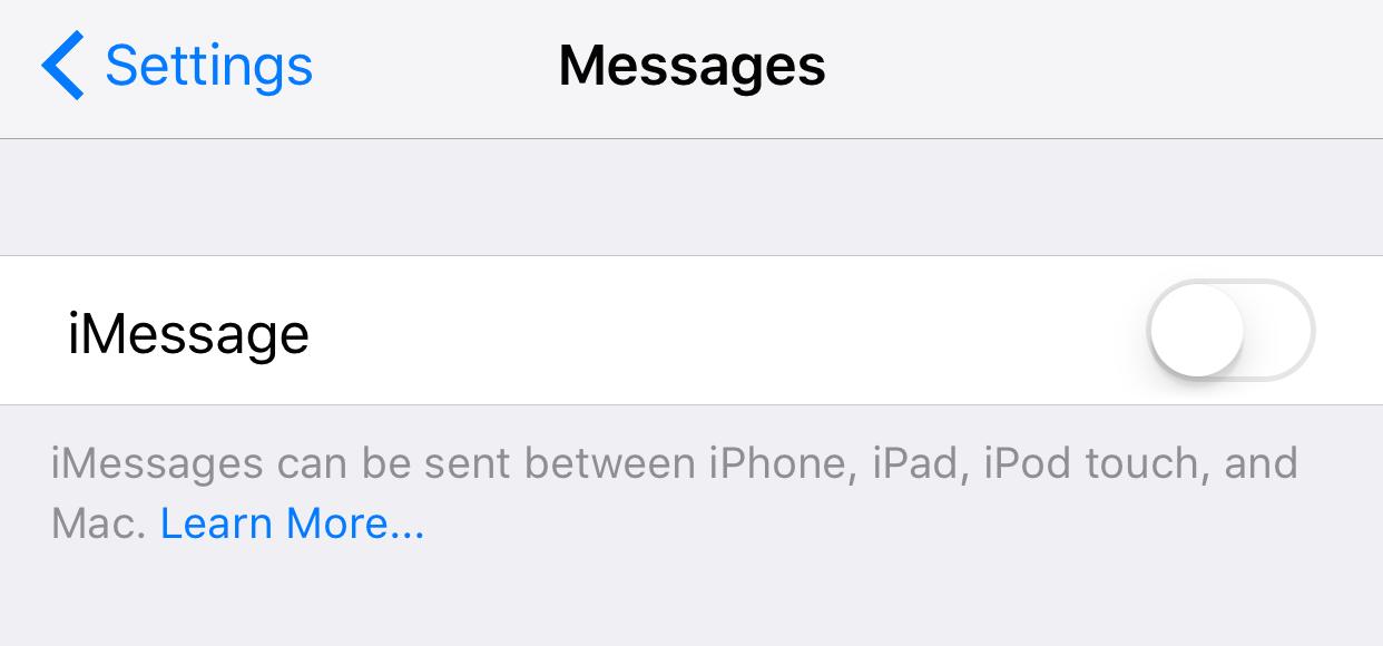 Disable iMessage Apple Watch Setup