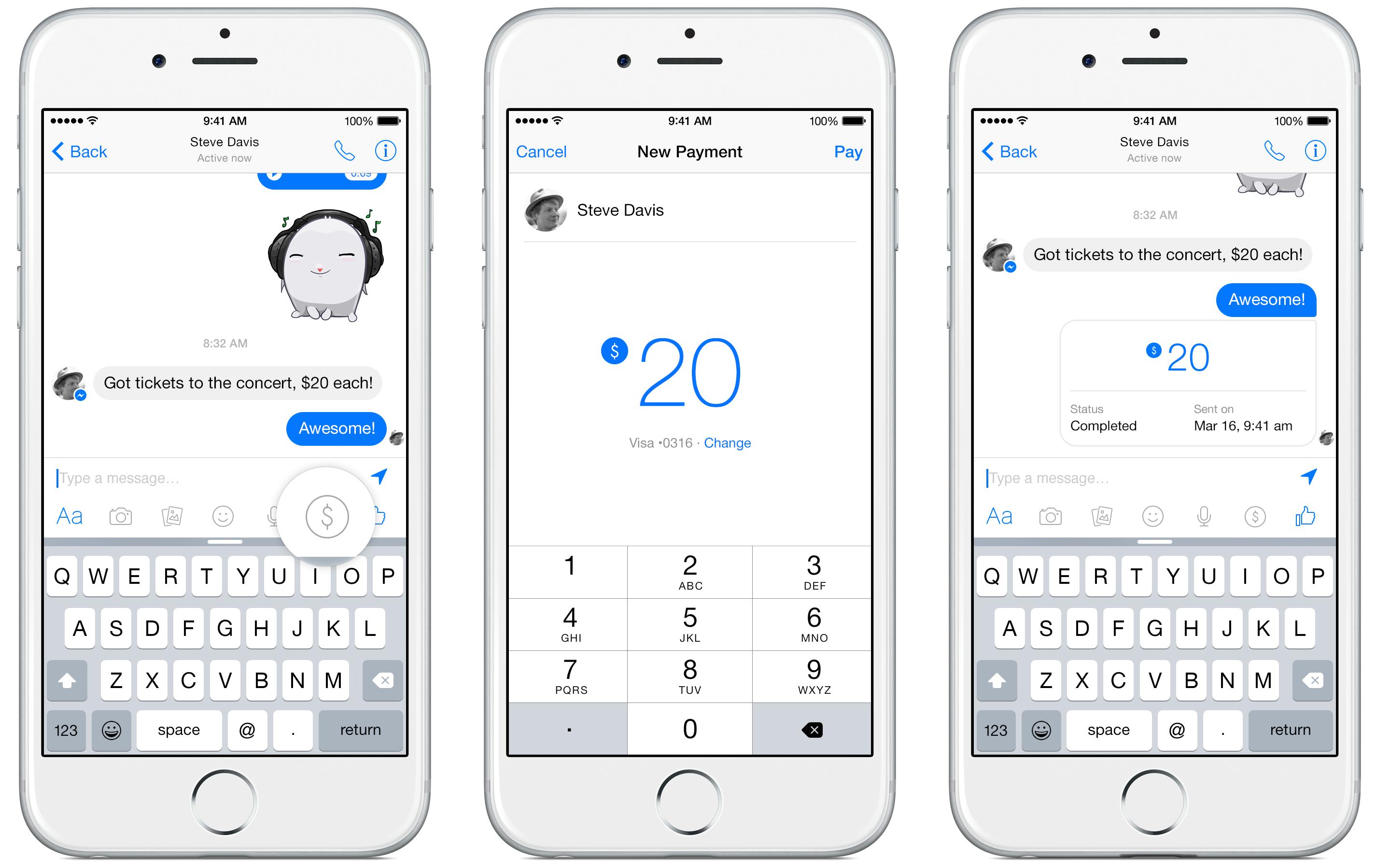 Facebook Messenger payments iPhone screenshot 001