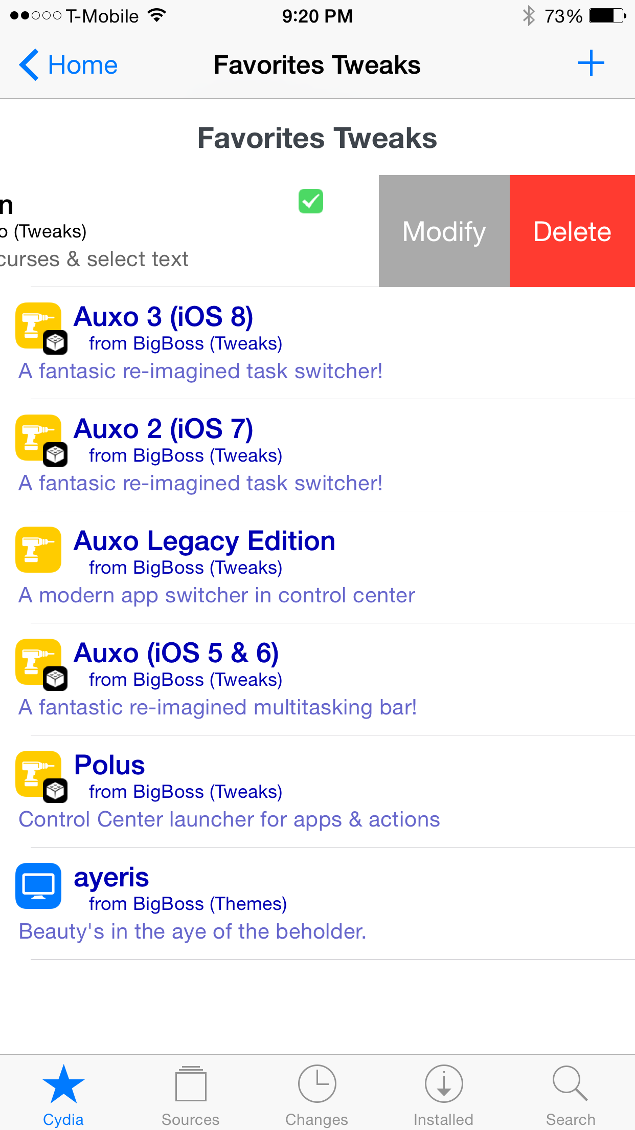 FavoriteTweaks Cydia