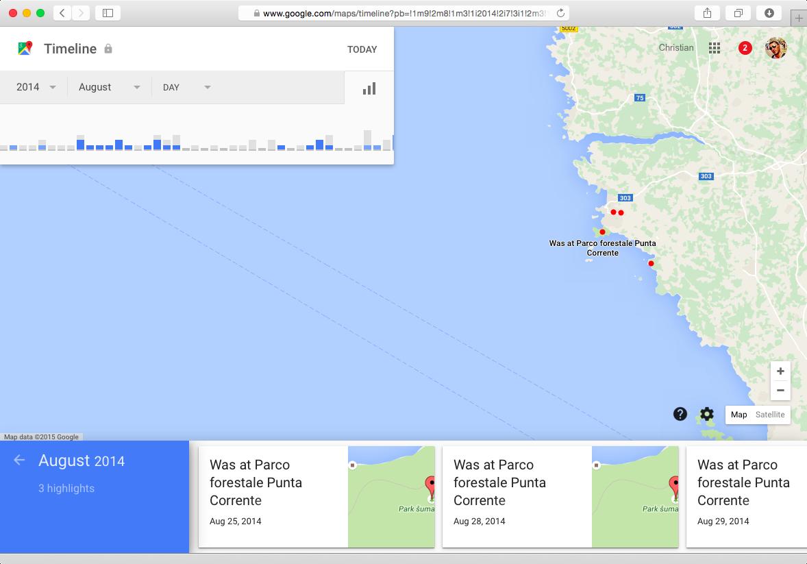 Captura de pantalla 001 de Google Maps Your Timeline Mac
