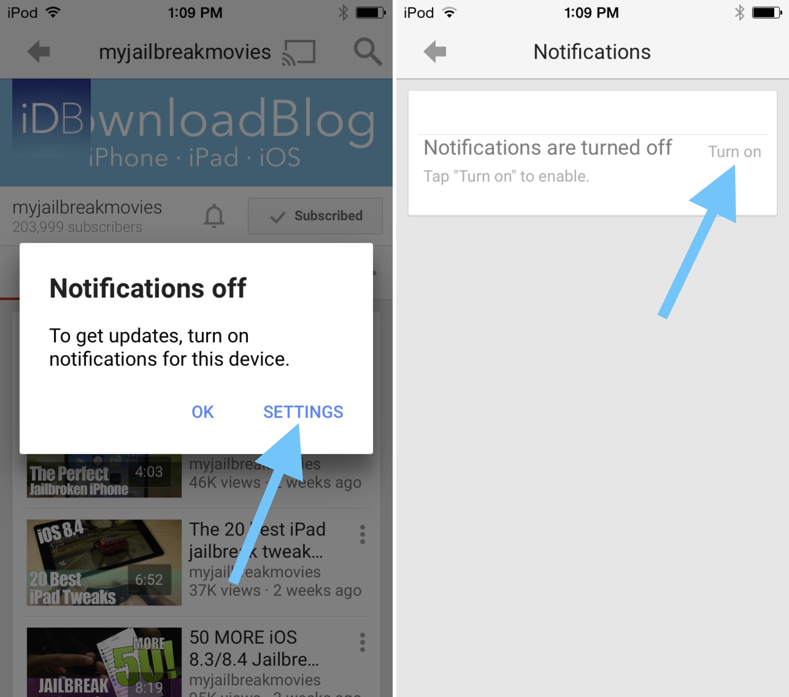 How to enable YouTube Notifications 2