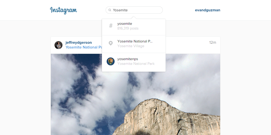 Instagram web search