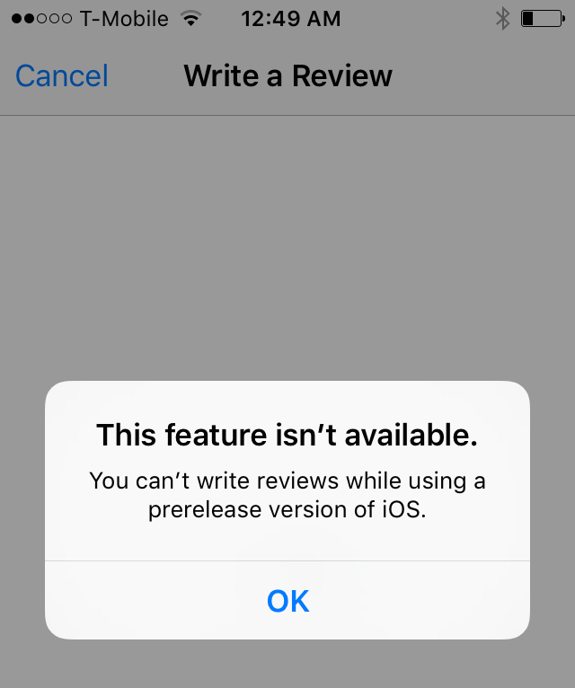 Apple stops users from leaving app reviews from iOS betas