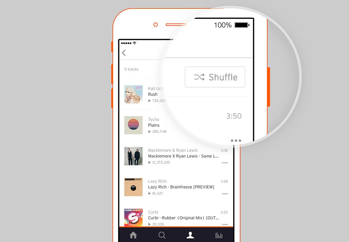 SoundCloud 3.1 for iOS shuffle tracks
