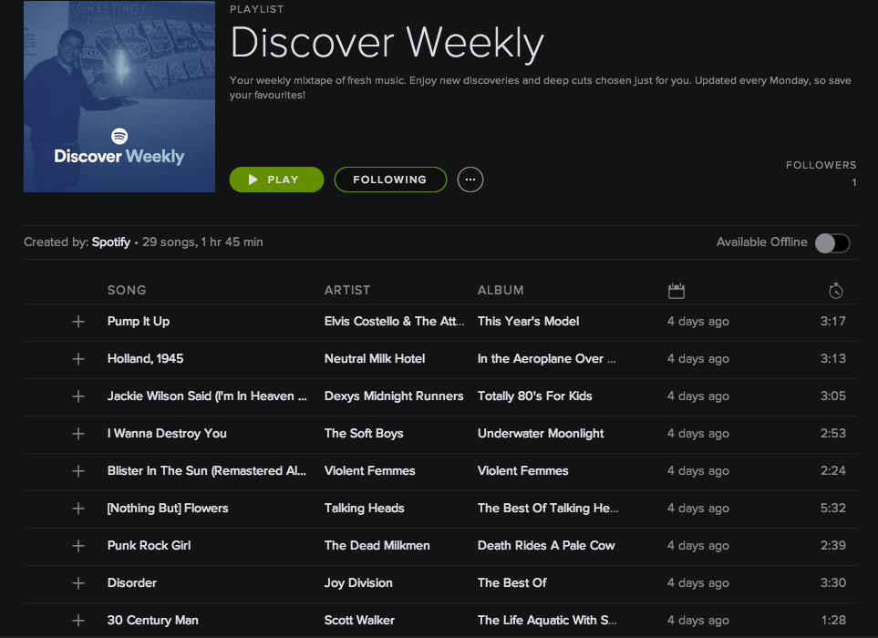 Spotify Discover Weekly screenshot 001