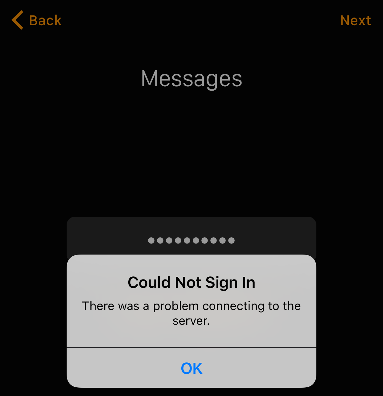 There was a problem connecting to the server Apple Watch