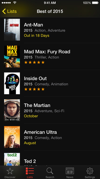 TodoMovies 4 for iOS iPhone screenshot 002