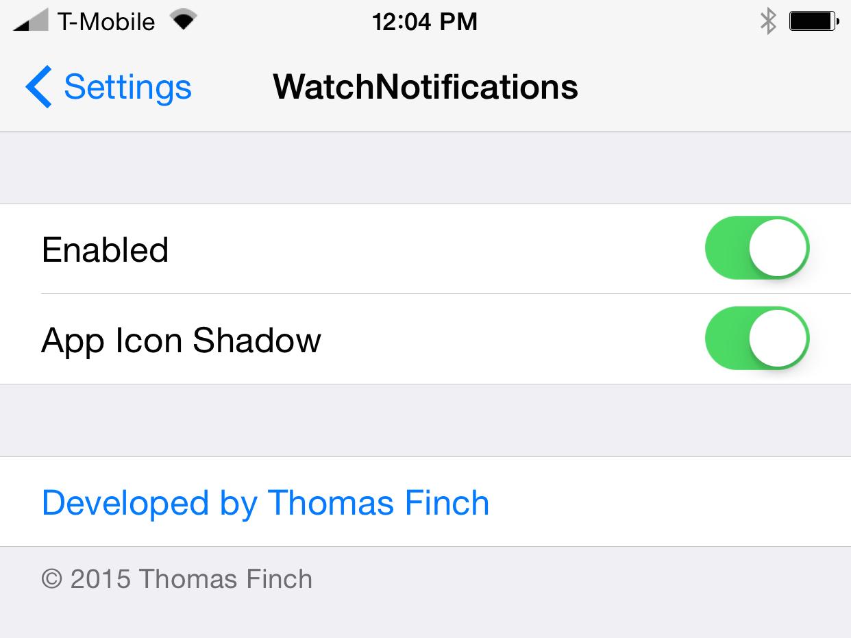 WatchNotifications Settings