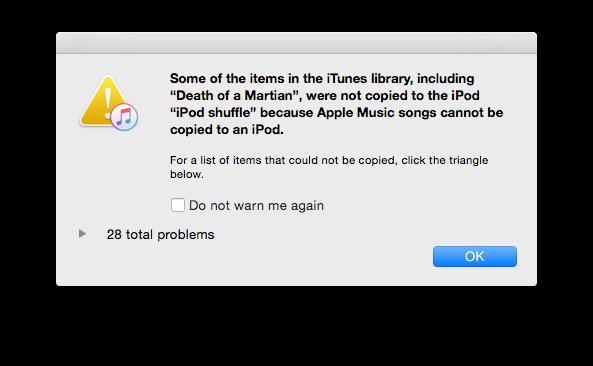 iPod nano Apple Music prompt