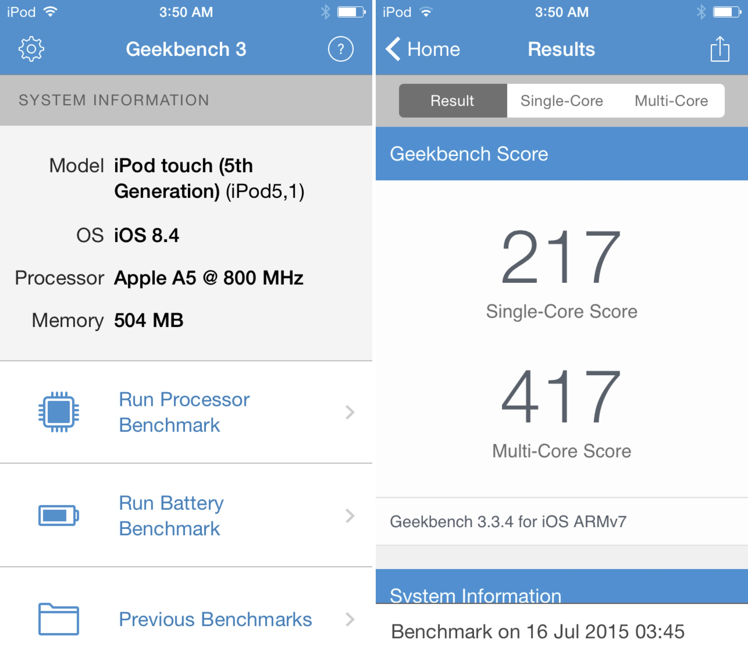iPod touch 5th gen benchmark