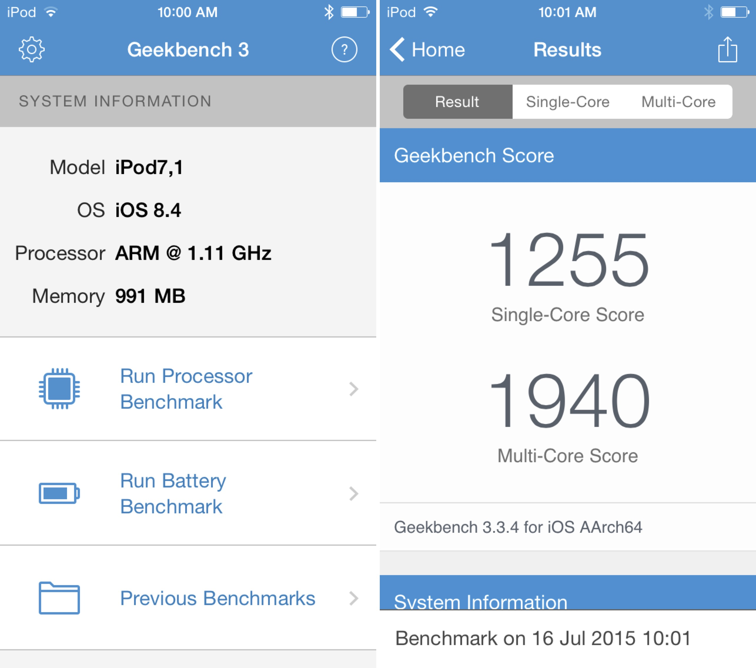 iPod touch 6g benchmark