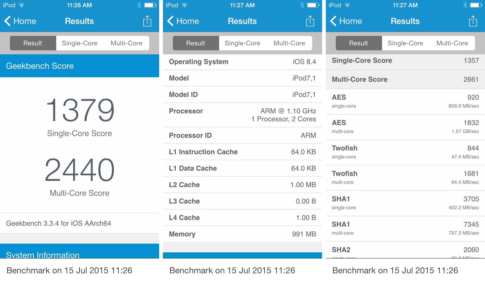 iPod touch mid-2015 CPU benchmark iPhone screenshot 001