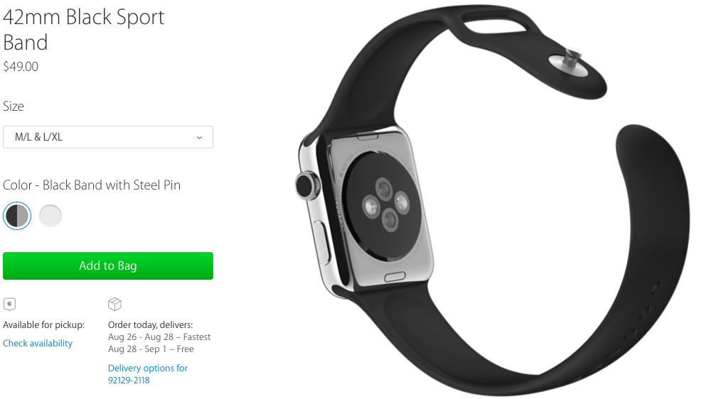 Apple Watch Black Sport Band new sizes web screenshot 001