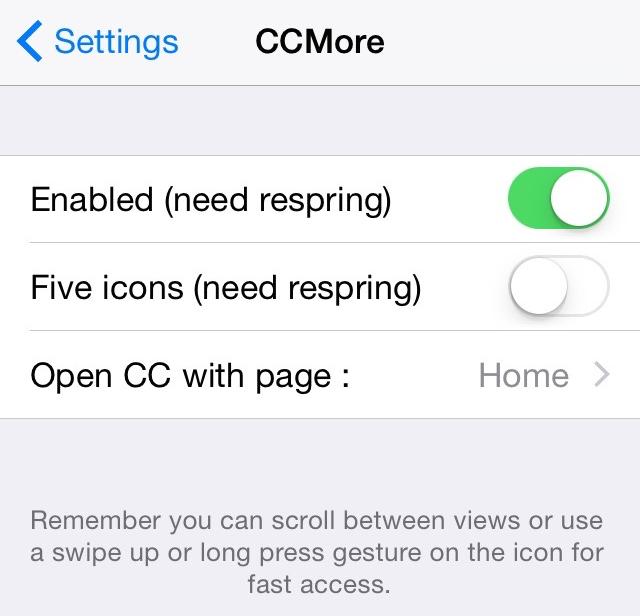CCMore preferences
