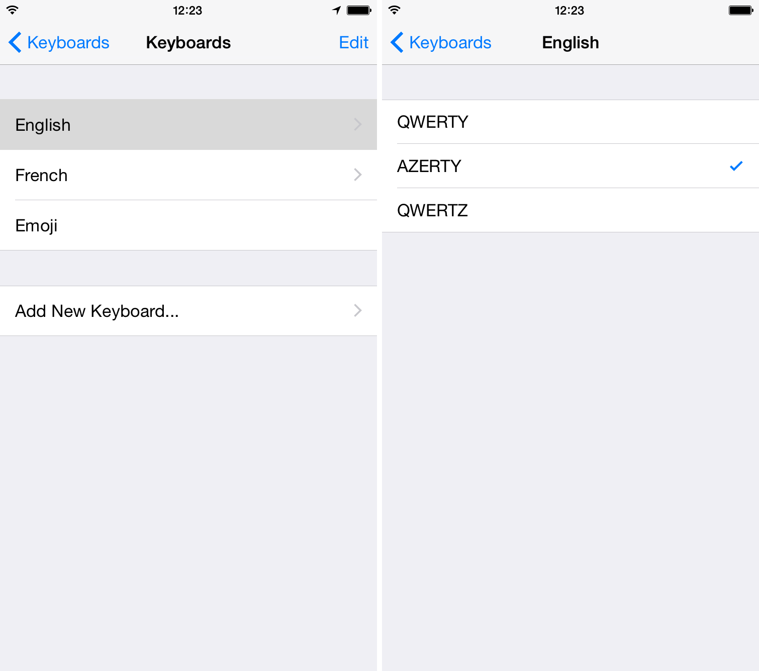Change keyboard layout