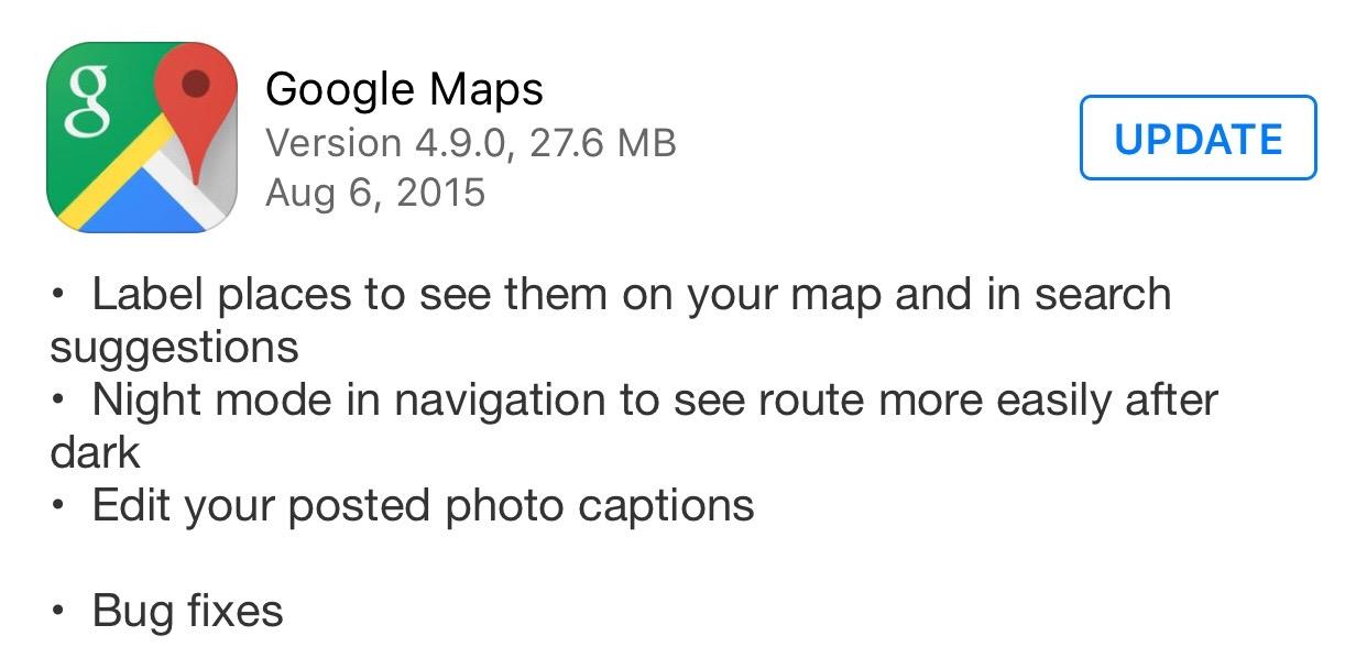Google Maps 4.9.0 Change log