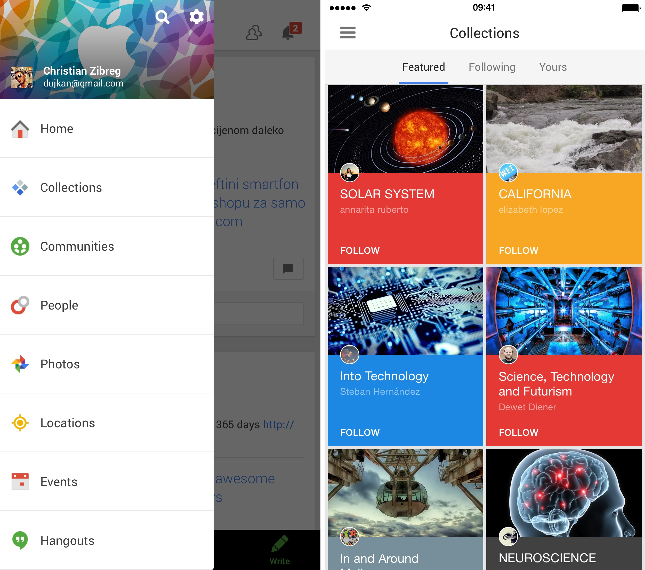 Google Plus 4.8.5 for iOS Collections iPhone screenshot 001