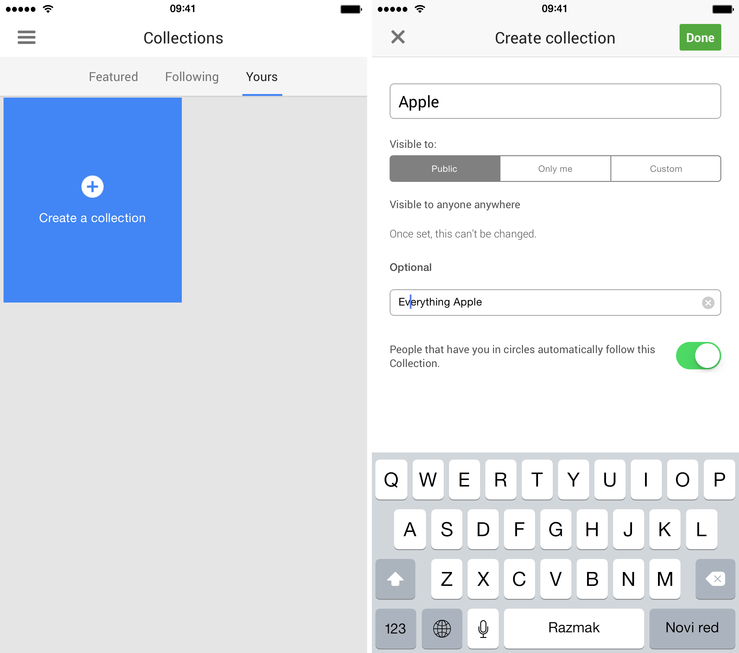 Google Plus 4.8.5 for iOS Collections iPhone screenshot 002