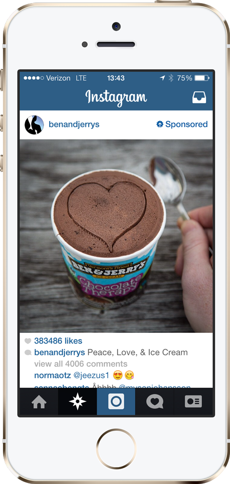 Instagram ads iPhone screenshot