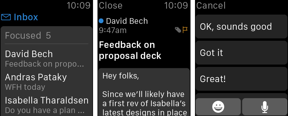 Outlook's Apple Watch app updated with replying from your