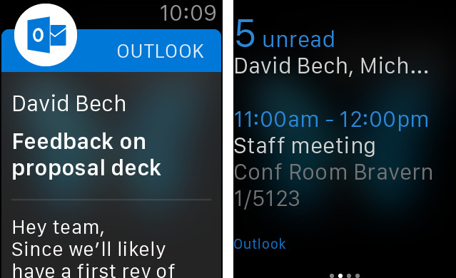 Microsoft Outlook 1.3.5 for iOS Apple Watch screenshot 002