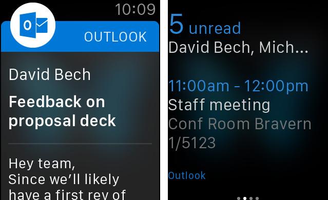 Captura de pantalla 002 de Microsoft Outlook 1.3.5 para iOS Apple Watch