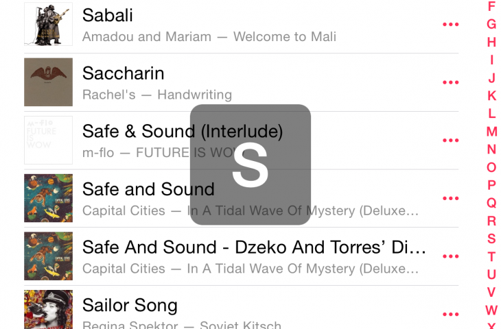 MusicScroller adds a pop-up alphabet indicator to the Music app