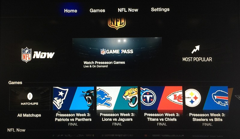 NFL Now Games Pass Apple TV image 001