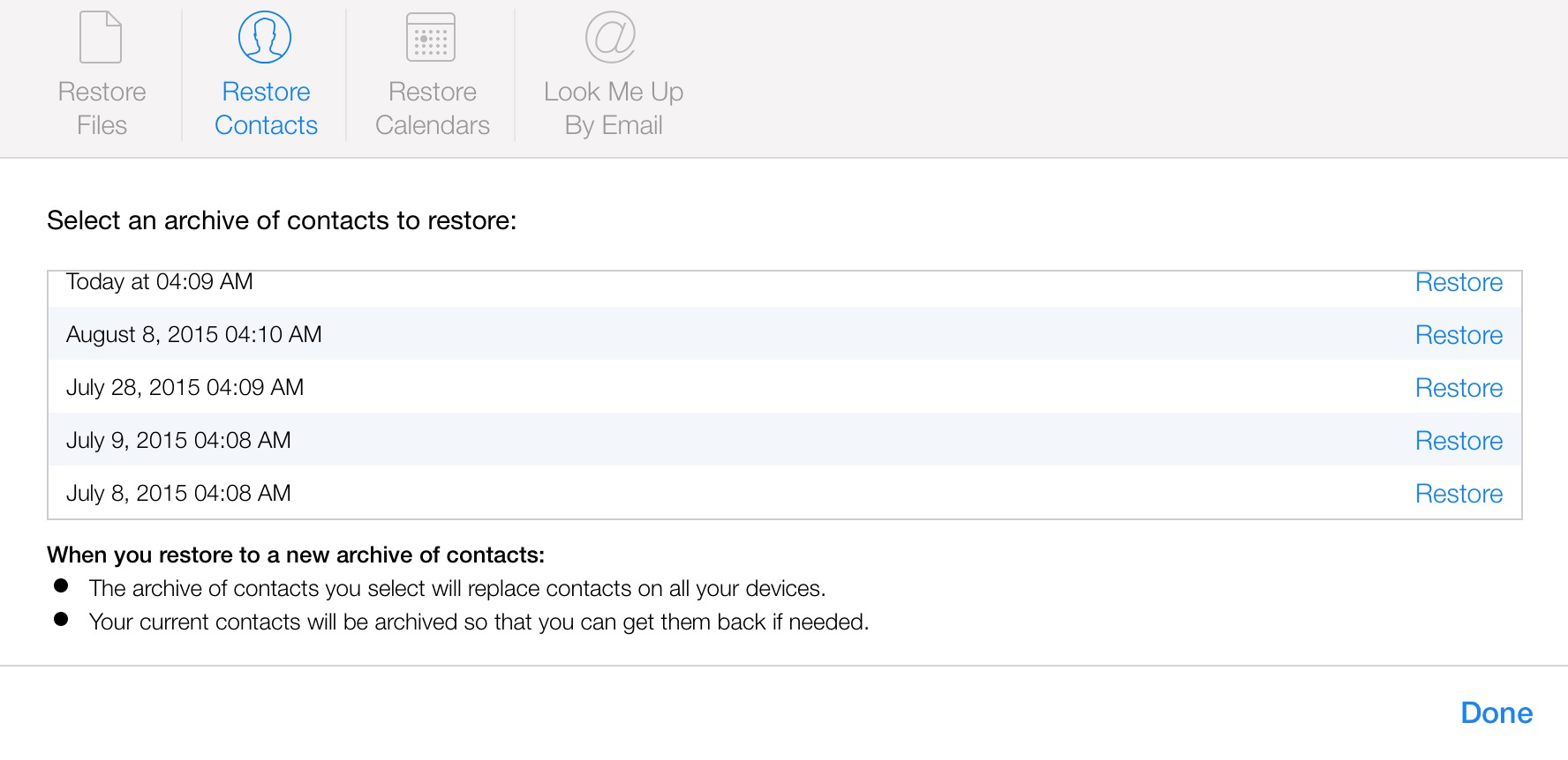 Restore iCloud Contacts