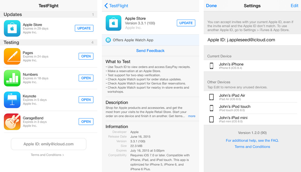 TestFlight 1.2 for iOS iPhone screenshot 001