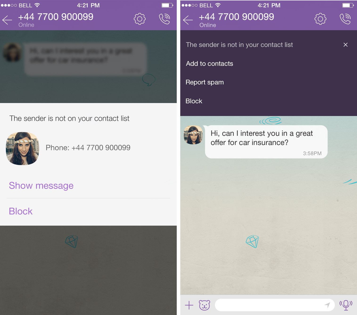 Viber for iOS spam filtering iPhone screenshot 001