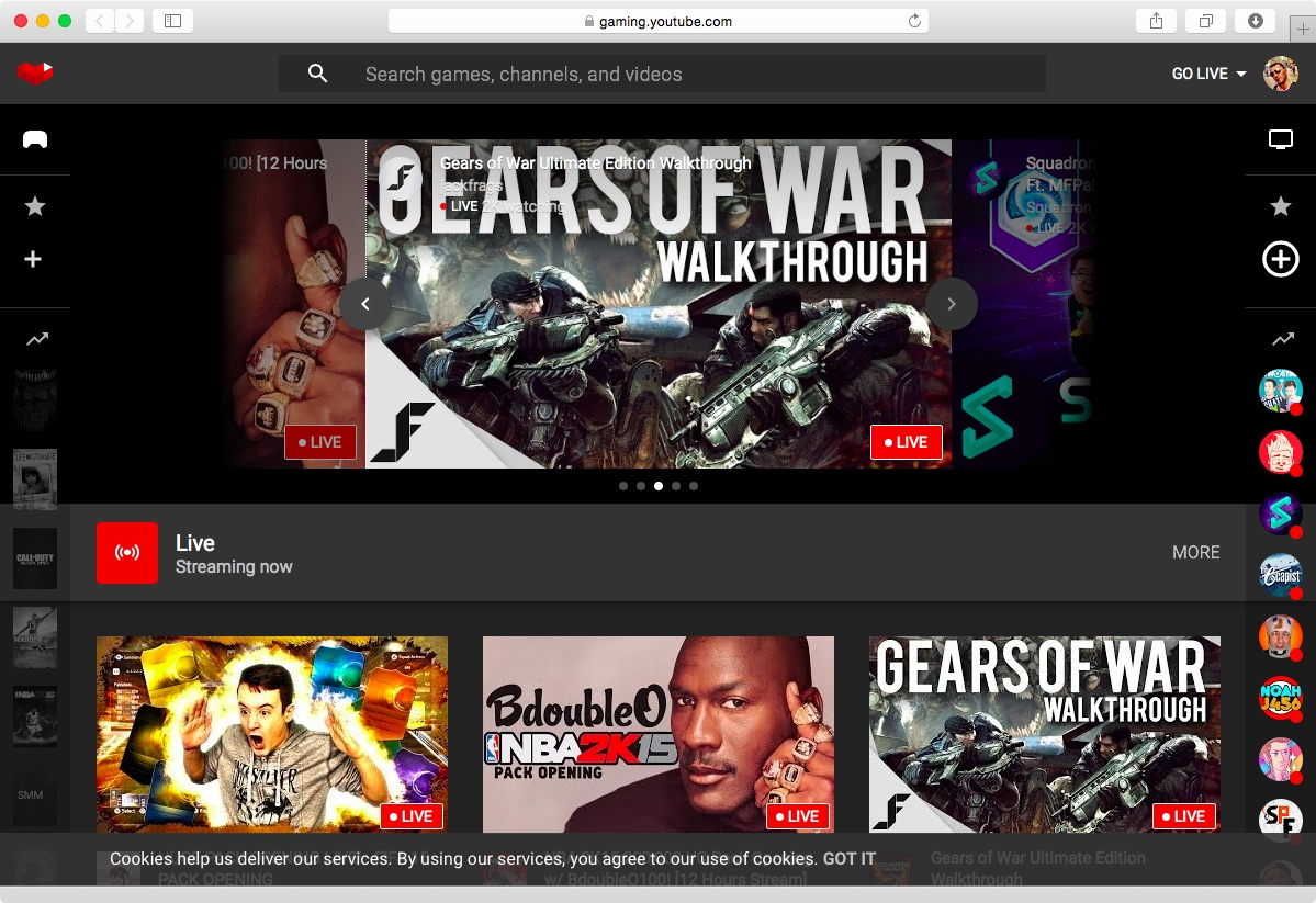 YouTube Gaming web screenshot 001