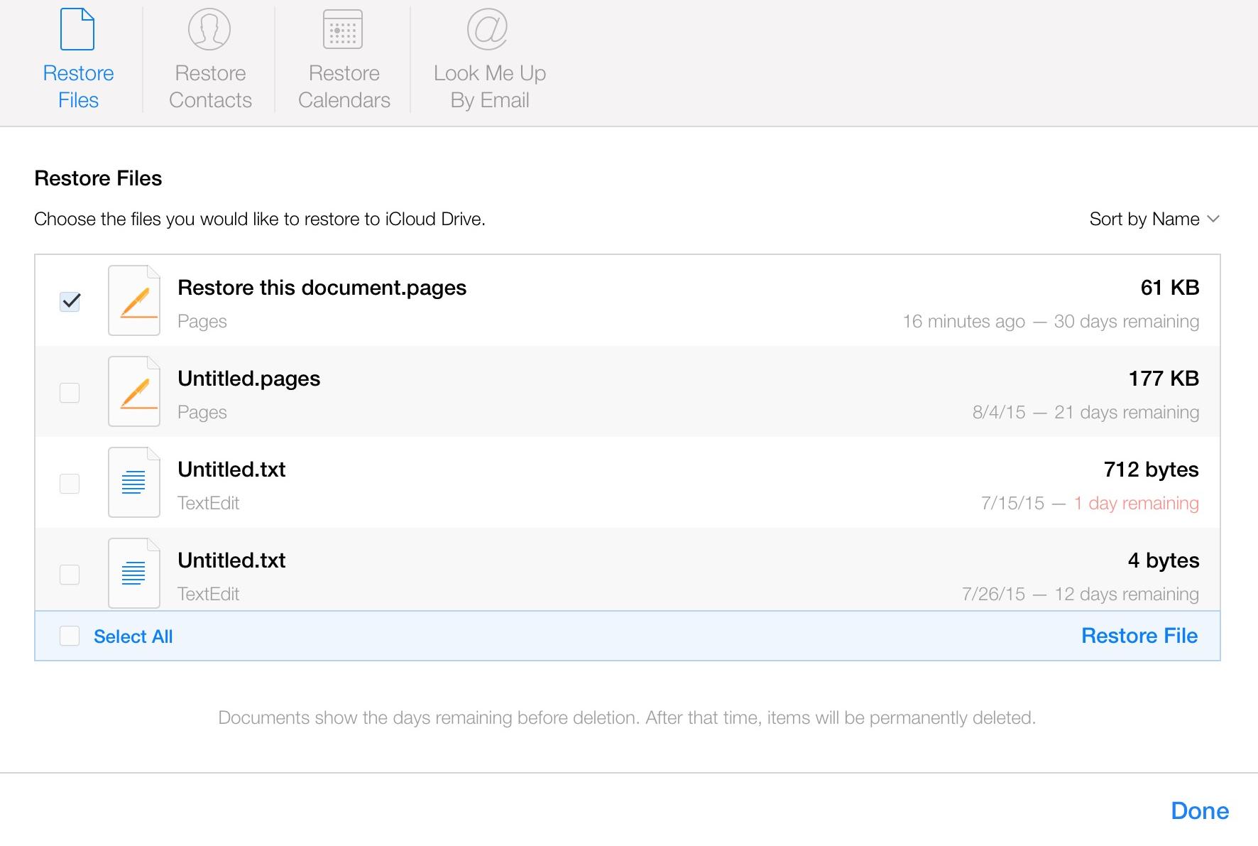 iCloud Restore File
