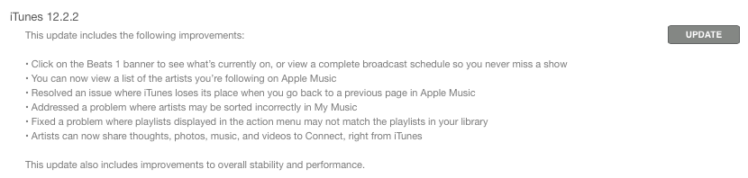 iTunes 12.2 changelog