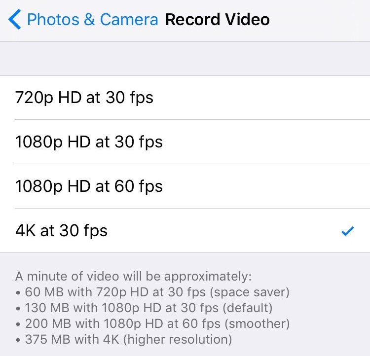 4K Video Size iPhone 6s