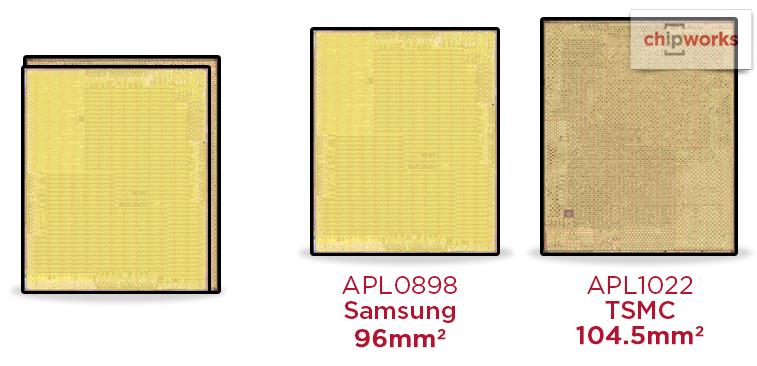 A9 size comparison Chipworks 001