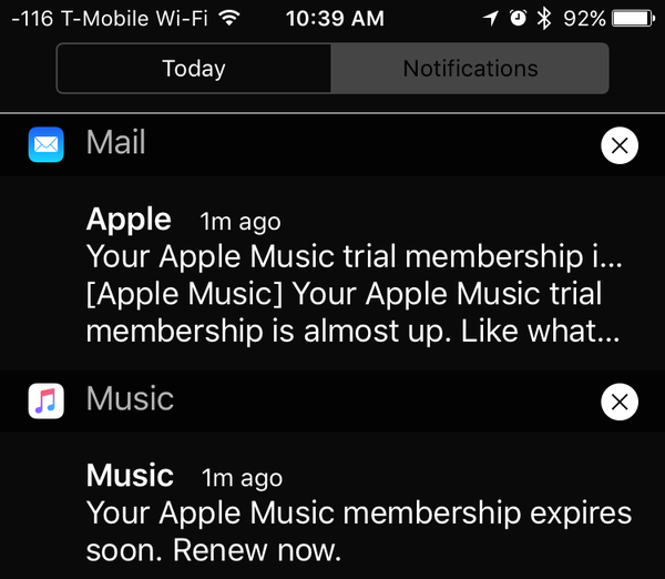 Apple Music expiring membership push notification