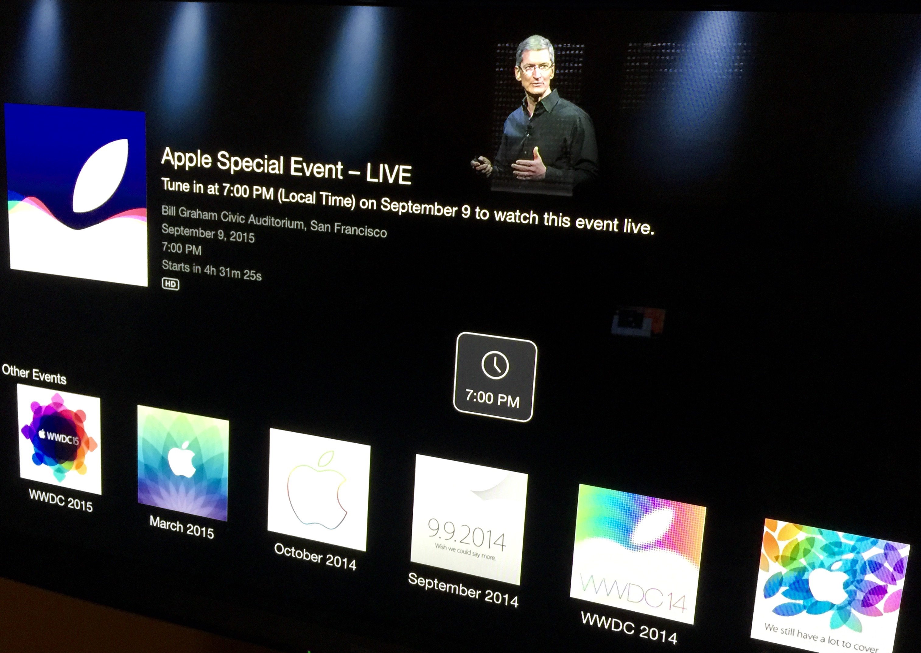 Apple TV September 2015 event channel