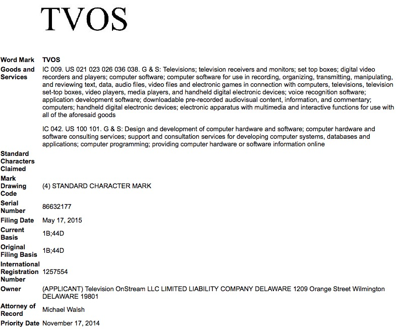Apple tvOS trademark
