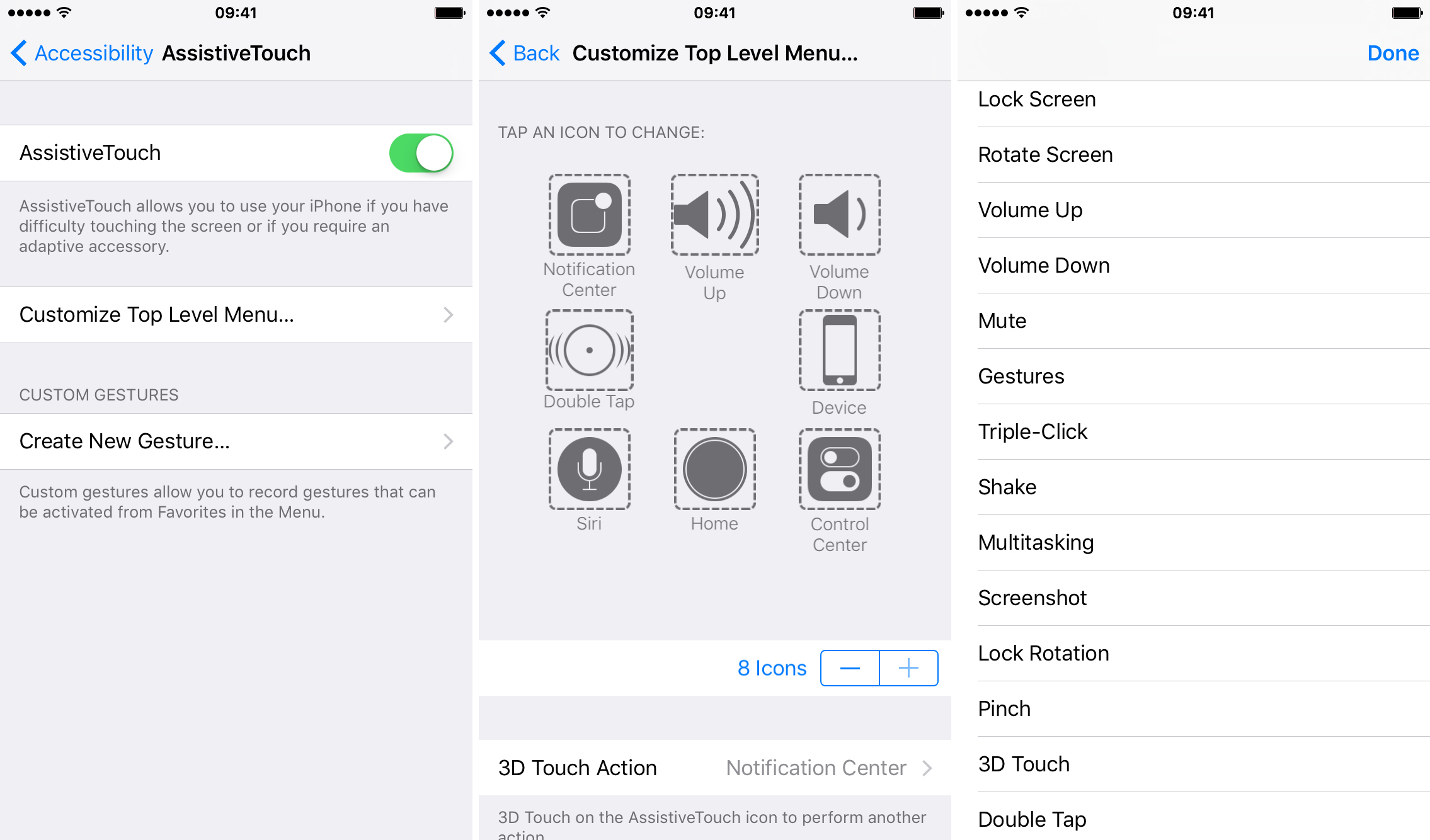 AssistiveTouch iOS 9 options