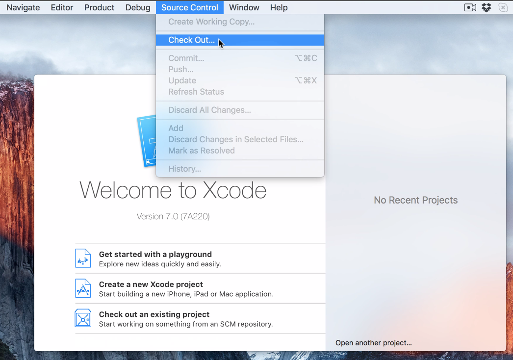 Check Out Source Control Xcode 7