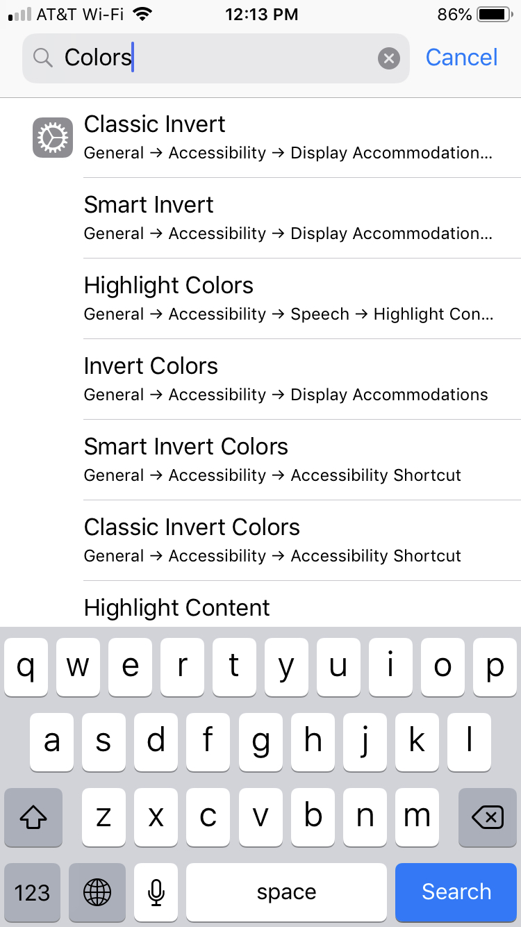 Colors Settings Search iPhone